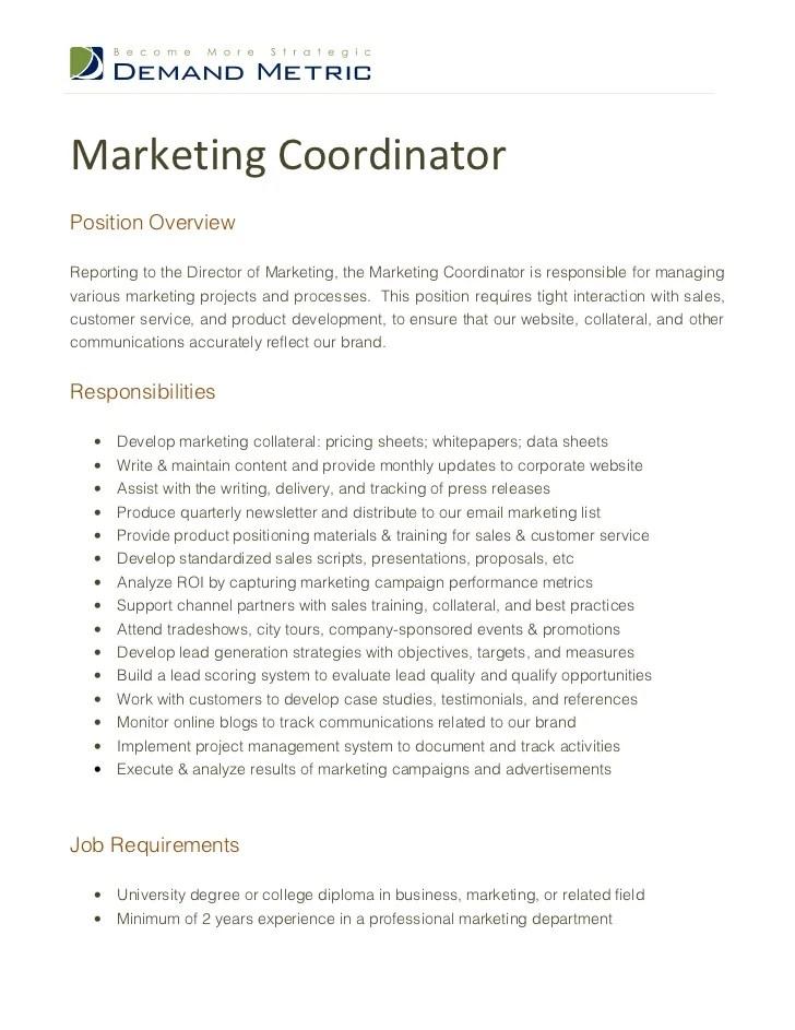 Sample Marketing Coordinator Resume