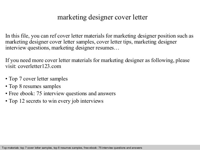 Marketing designer cover letter