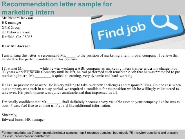 Marketing intern recommendation letter