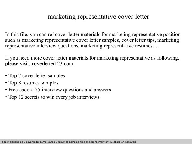 Marketing Representative Cover Letter