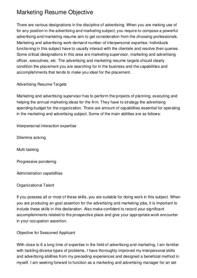 resume objectives - Marketing Resume Objectives Examples