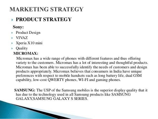 Marketing Strategy Of Sony,micromax And Samsung