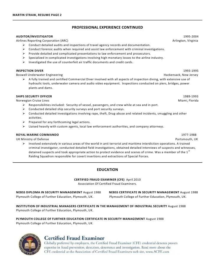 Martin Straw, CFE Certified Fraud Examiner Resume
