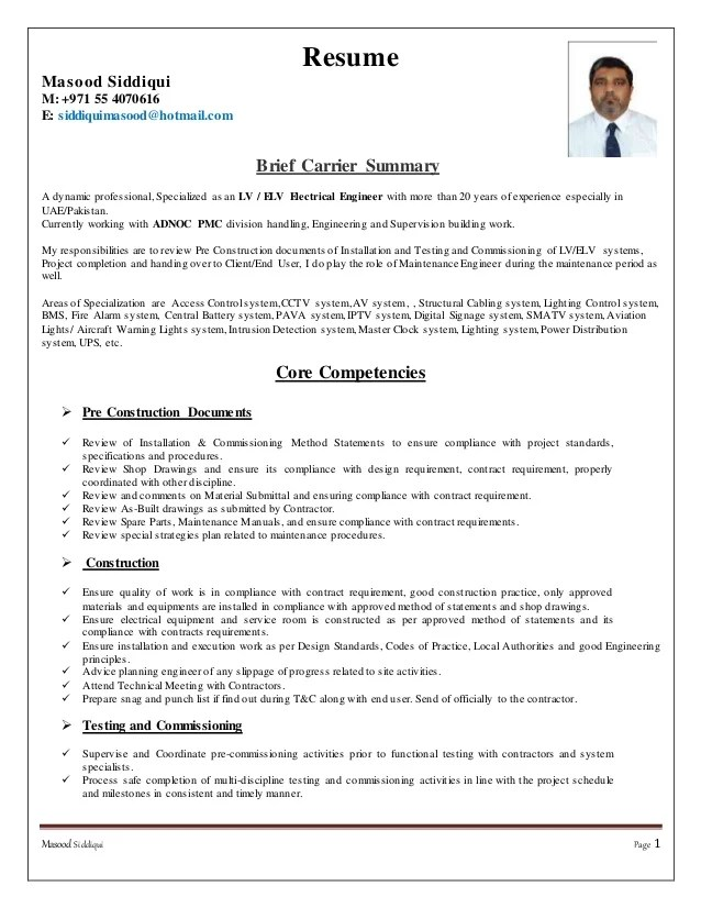 arts resume format
