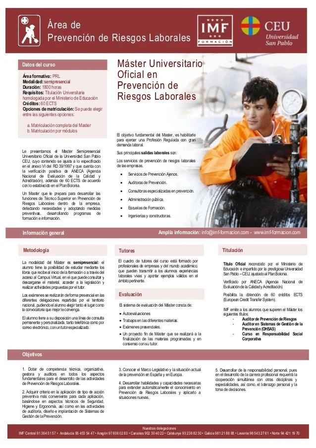 Master Universitario Oficial en Prevencion de Riesgos Laborales