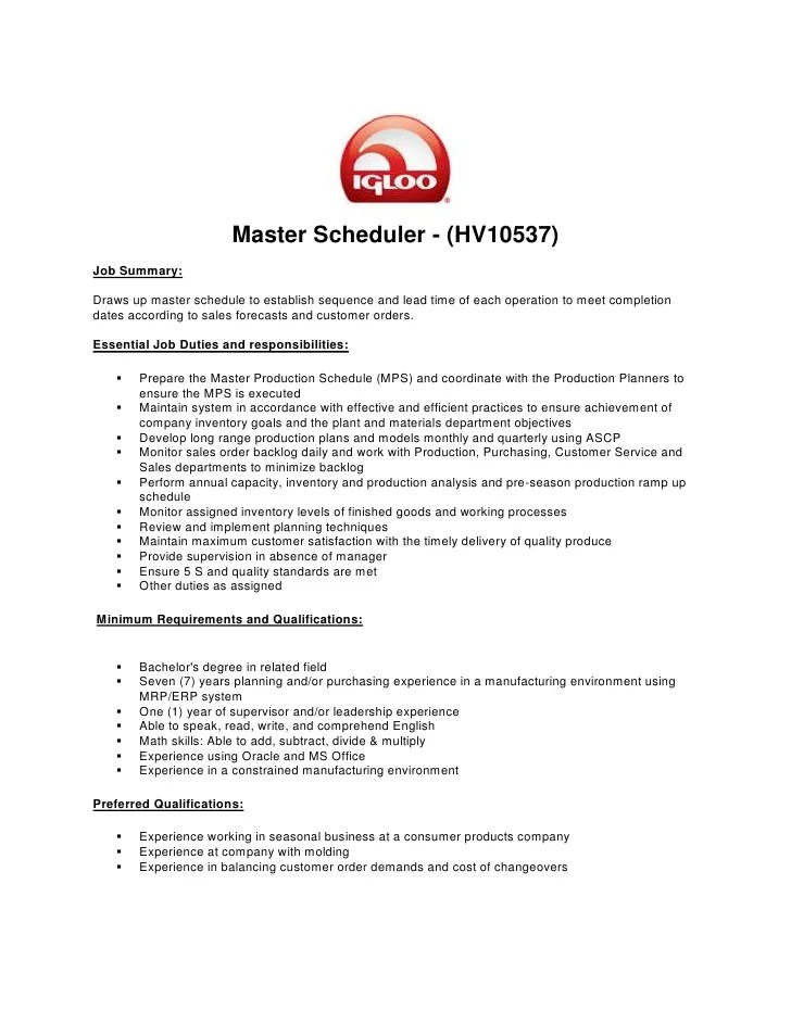 construction scheduler job description week week manufacturing scheduler sample resume scheduler resume