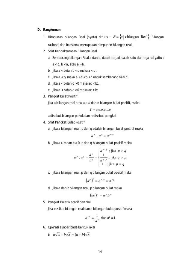 Himpunan bilangan irrasional (tak terukur) ditulis : Matematika Dasar Bag1