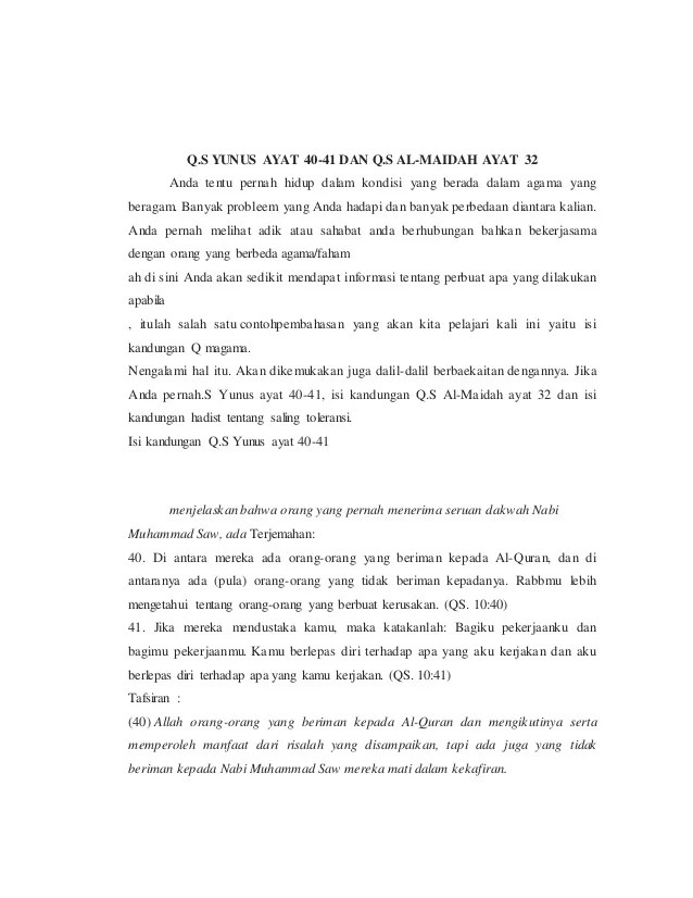 Kandungan Qs Yunus 40 41 : kandungan, yunus, Materi, Surat-yunus-dan-maidah-samiul-
