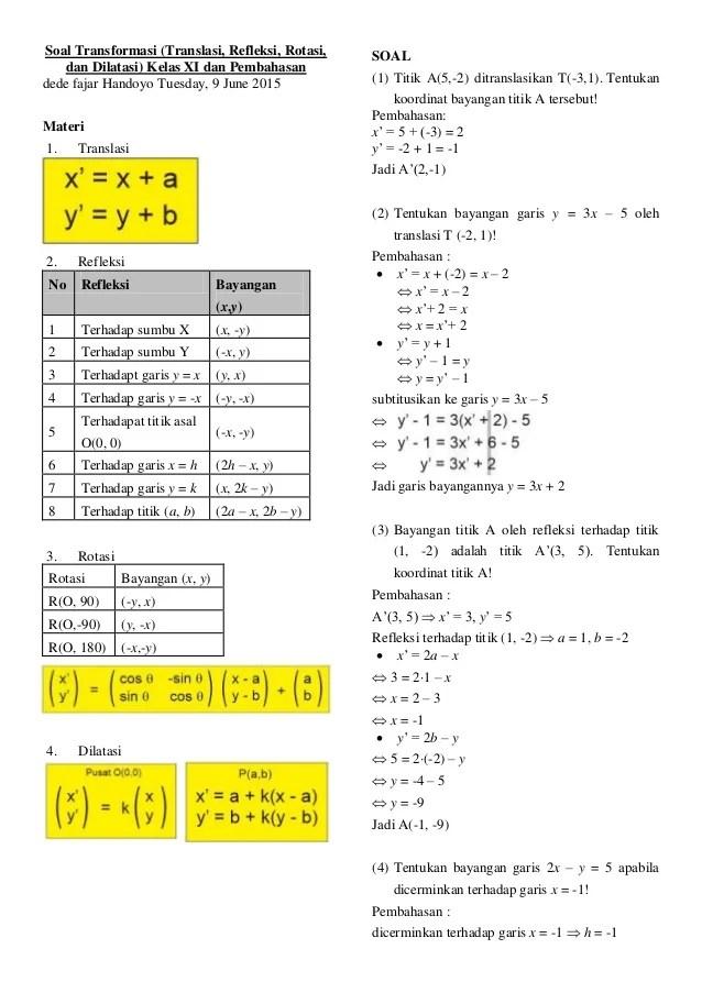 Contoh Soal Transformasi Geometri Rotasi : contoh, transformasi, geometri, rotasi, Materi, Transformasi