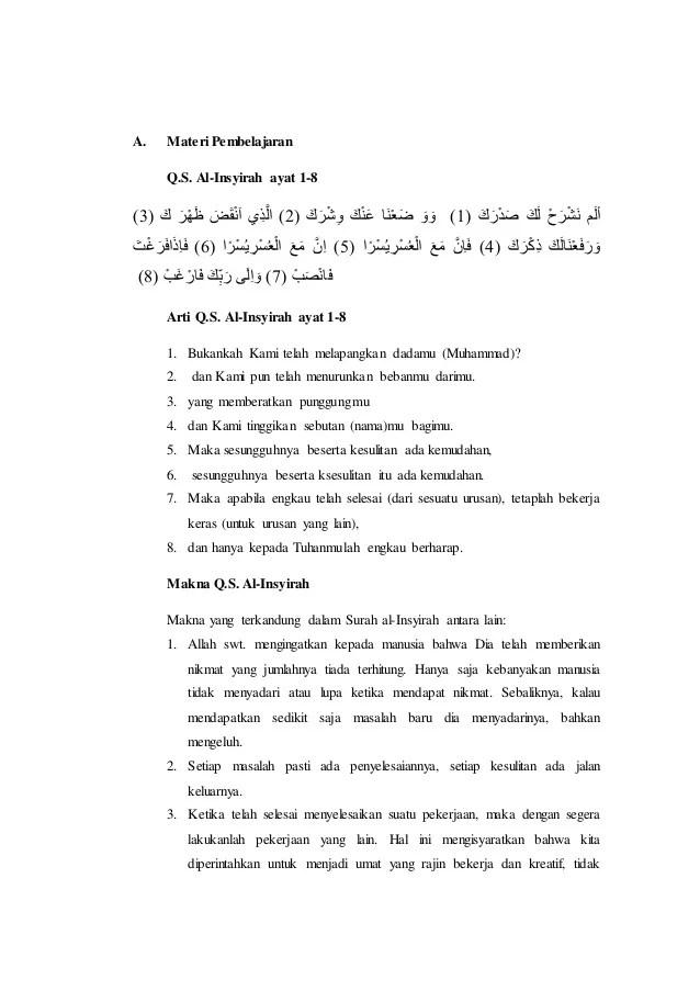 Surat Al Insyirah Ayat 1-8 Lengkap Beserta Latin dan... - Semarangku