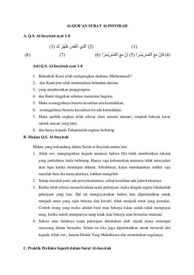 Surah Al-insyirah Ayat 1-8 Beserta Artinya : surah, al-insyirah, beserta, artinya, Materi, Insyirah