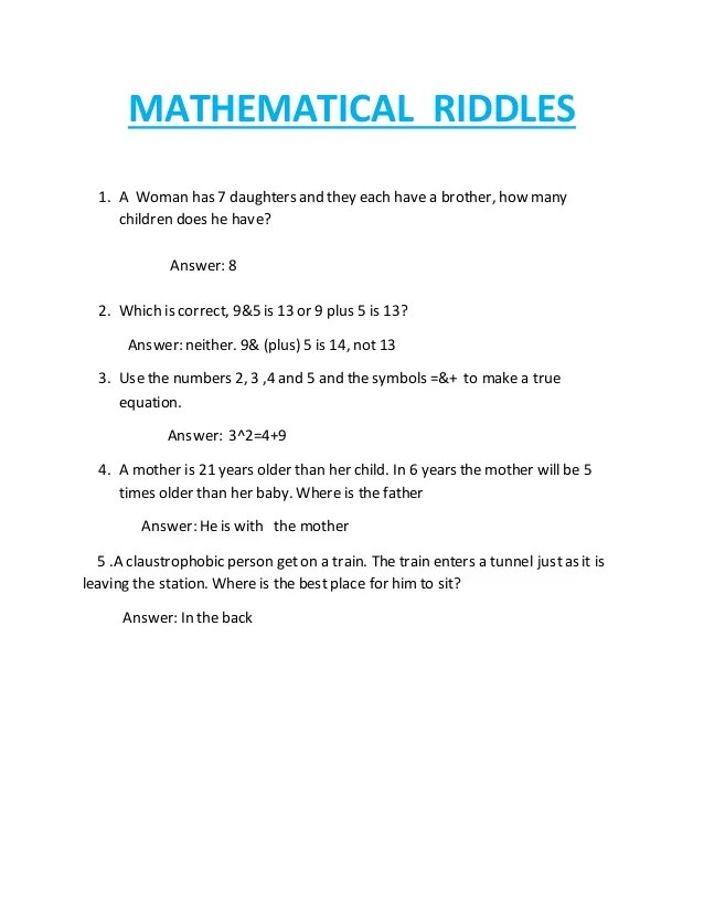 Riddles With The Answer Baby : riddles, answer, Mathematical, Riddles