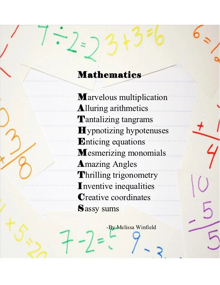 Mathematics acrostic poem