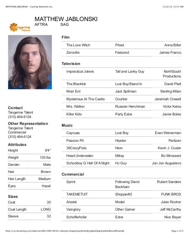 Matthew Jablonski Acting Resume