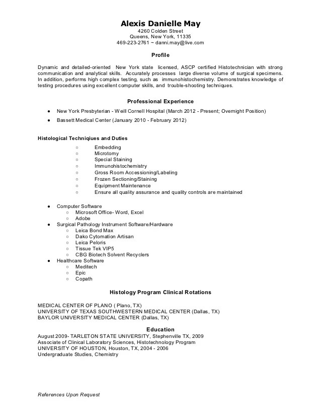 May Histotechnician Resume 2012 1