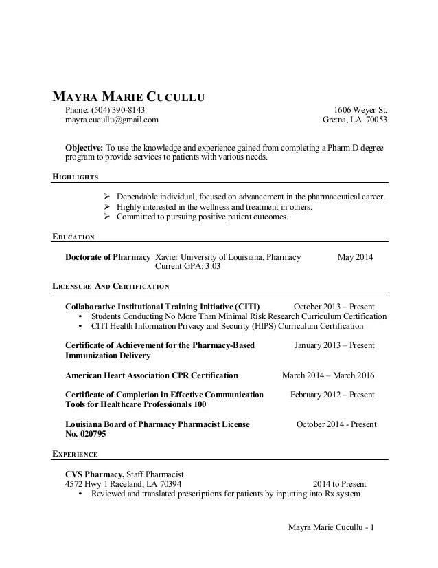 pharmacy internship resumes - Romeo.landinez.co