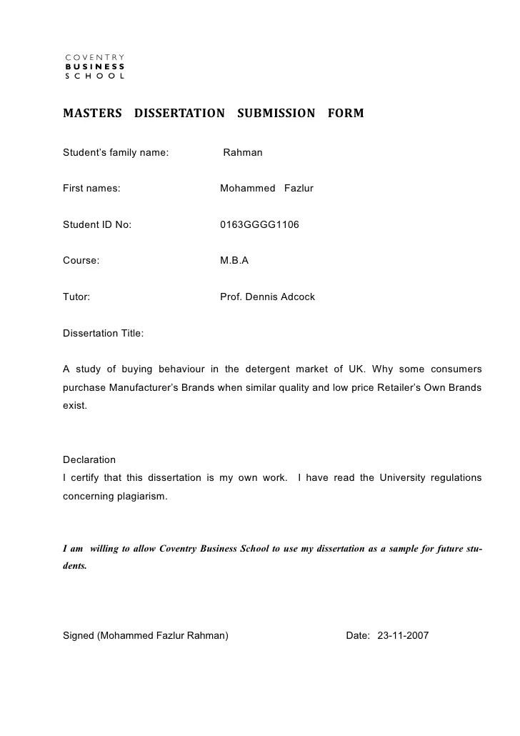MBA Dissertation 2007 Coventry University United Kingdom