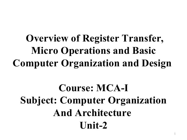 Mcaicoa Overview Of Register Transfer, Micro Operations