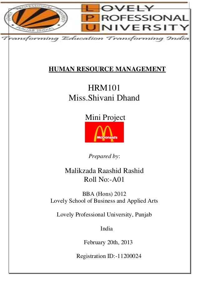 Mcdonalds Mini Project Recruitment Process & T&D