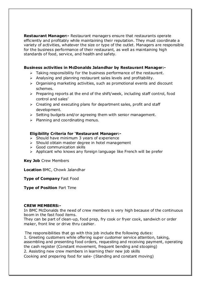 Mcdonalds Mini Project Recruitment Process & T&D