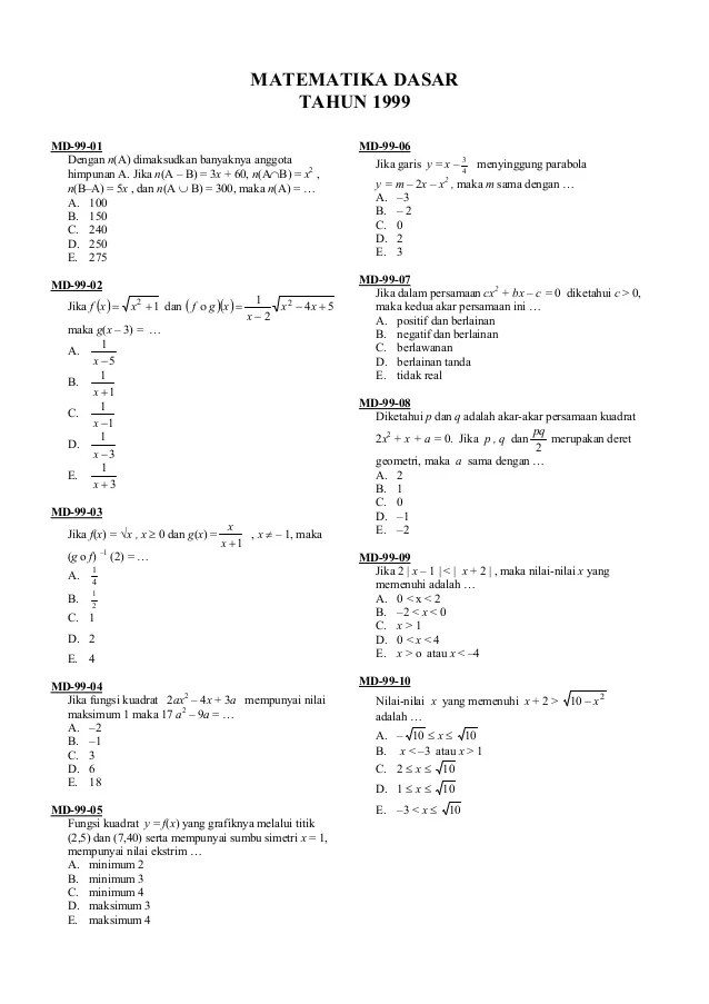 Kumpulan lengkap rumus praktis matematika dasar sma (ipa,ips, dan bahasa) / sobirin ; Soal Matematika Dasar 1999