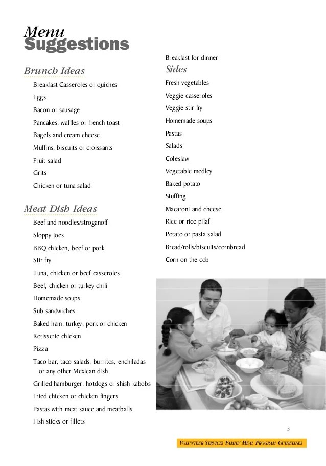 Ronald McDonald House Meal Guidelines