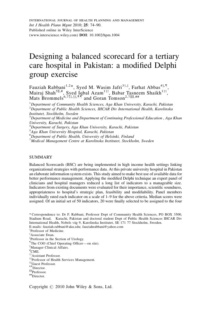 International Journal Of Health Planning And Management Int J Health Plann  Mgmt 2010;