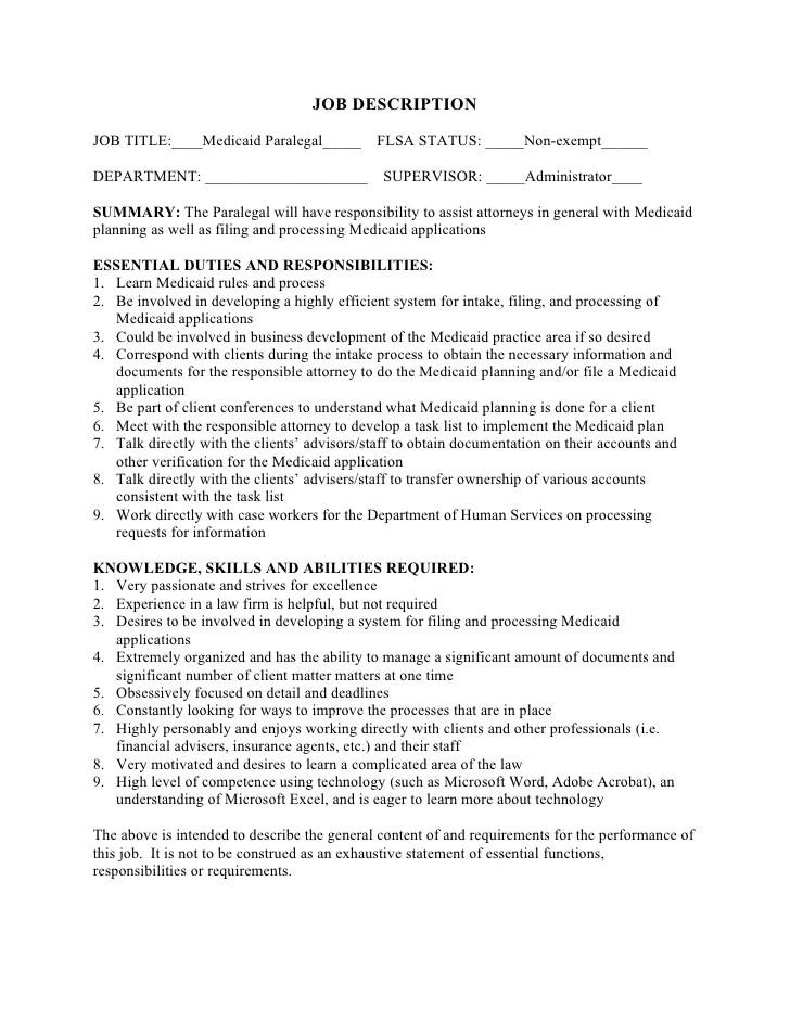 Medicaid Paralegal Job Description