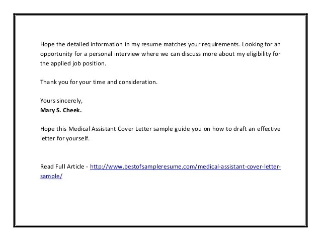 Medical assistant cover letter sample pdf