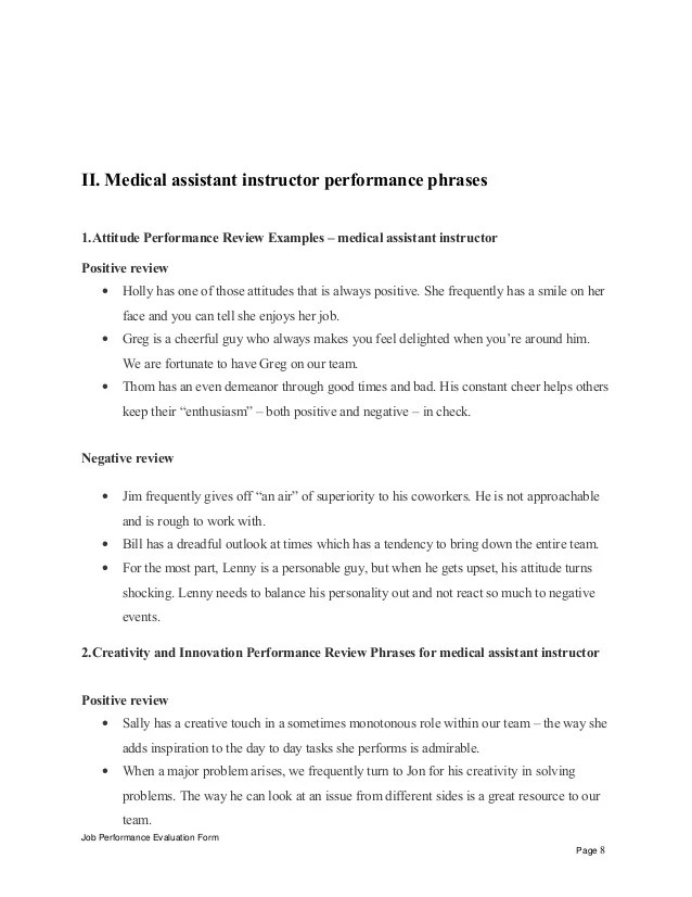 Medical assistant instructor performance appraisal