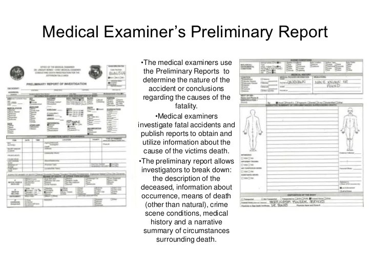 Medical Examiner's Preliminary Report Pt 1