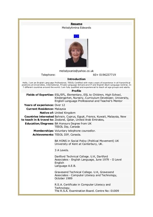 resume of music teacher