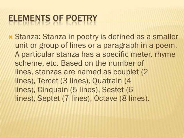 Basic Elements Of Poetry