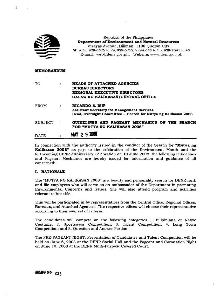 Memo 2008 Guidelines & Pageant Mechanics For Mutya Ng