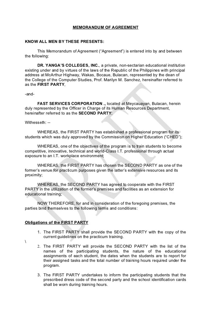 Memorandum Of Agreement Free Printable Documents