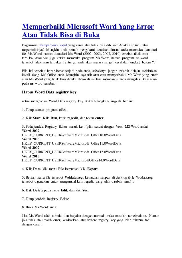 Cara Memperbaiki Microsoft Word 2010 : memperbaiki, microsoft, Memperbaiki, Microsoft, Error, Tidak