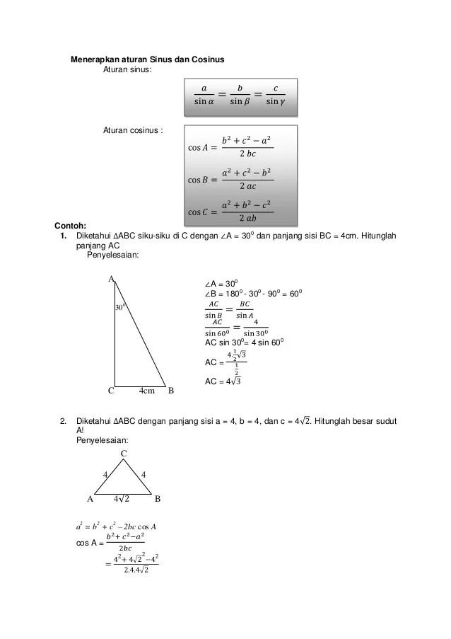 Aturan Sinus Cosinus Dan Luas Segitiga : aturan, sinus, cosinus, segitiga, Menerapkan, Aturan, Sinus, Cosinus, E-Learning