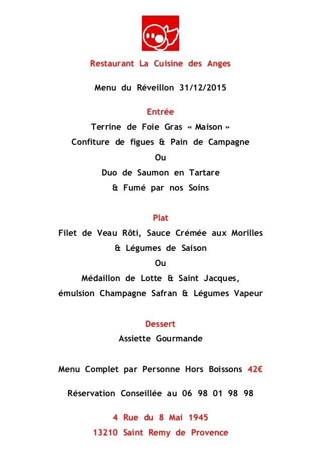 Menu Rveillon Cuisine Des Anges Saint Rmy De Provence