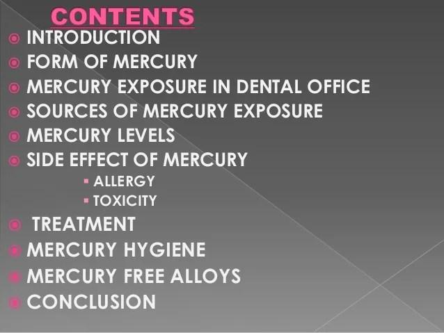 Mercury toxicity & hygiene