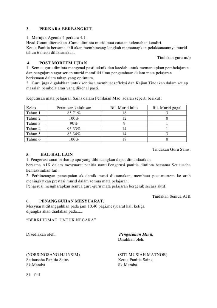 Minit Mesyuarat Panitia Sejarah Kali Pertama 2015 Sekolah Kebangsaan Kuala Bok Baram Tarikh Cute766