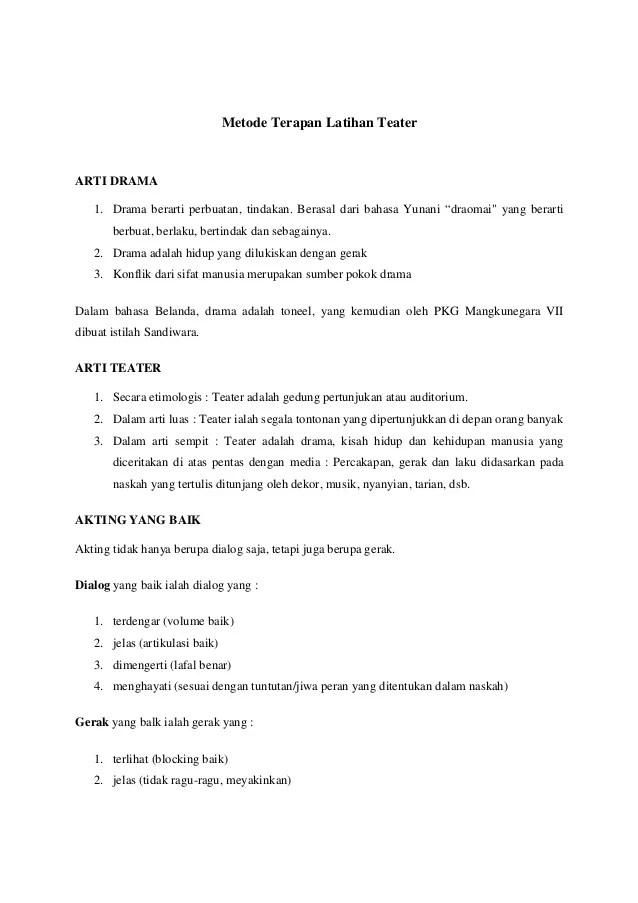 Latihan Dasar Teater : latihan, dasar, teater, Metode, Terapan, Latihan, Teater