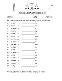 Math Worksheets Conversions Metric - converting between ...