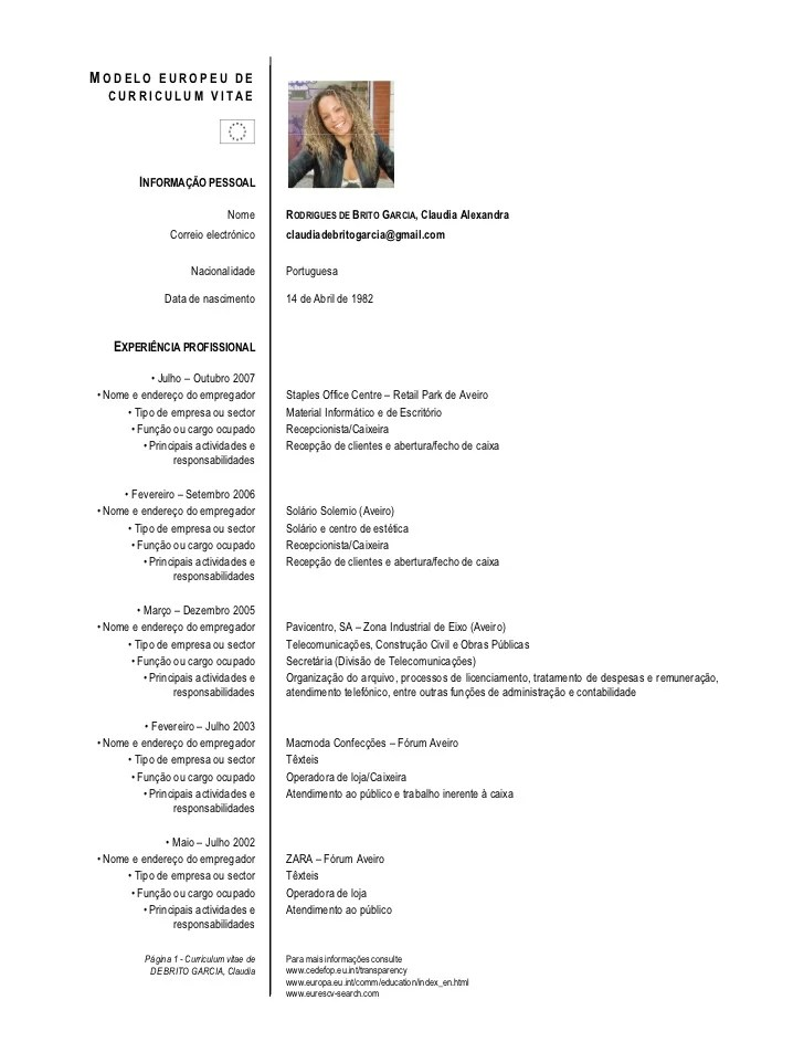 curriculum vitae europass exemplos preenchidos