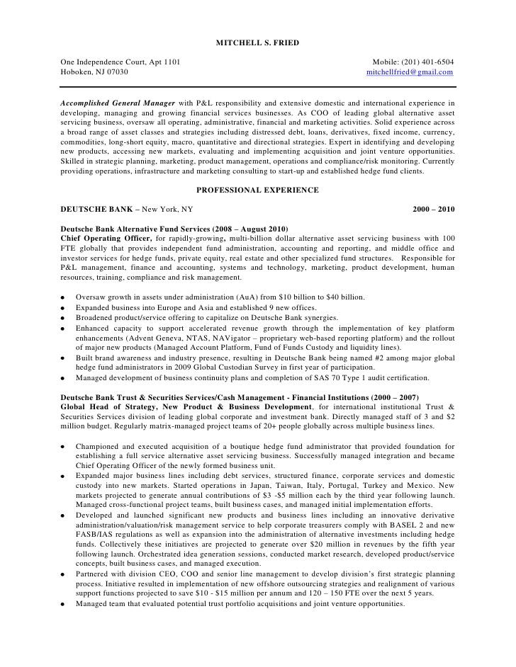 sample resume for fund investor