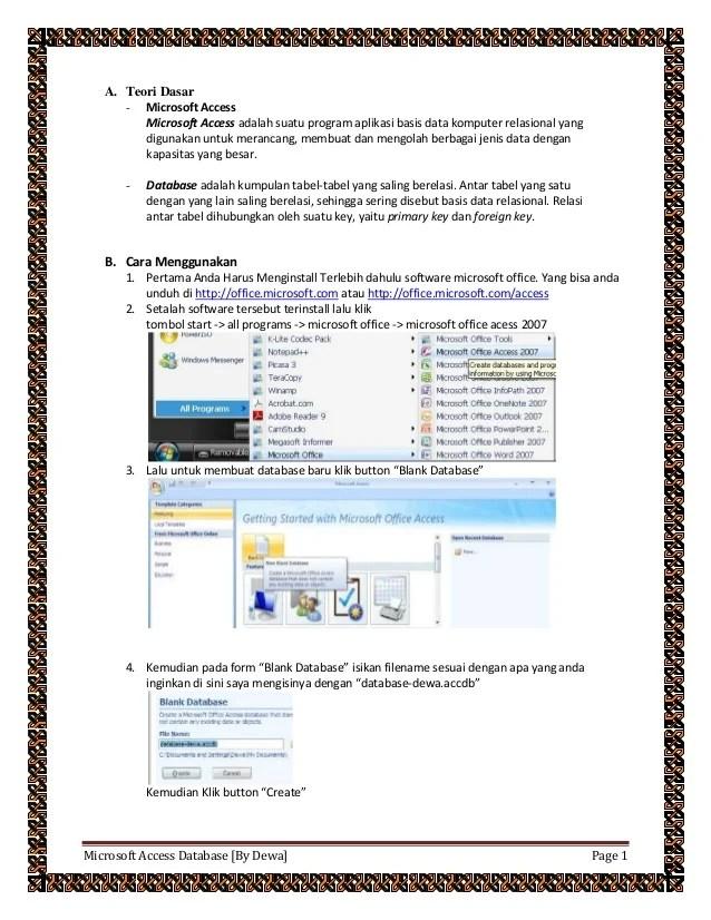 Program Aplikasi Yang Digunakan Untuk Database Adalah : program, aplikasi, digunakan, untuk, database, adalah, Microsoft, Access, Database