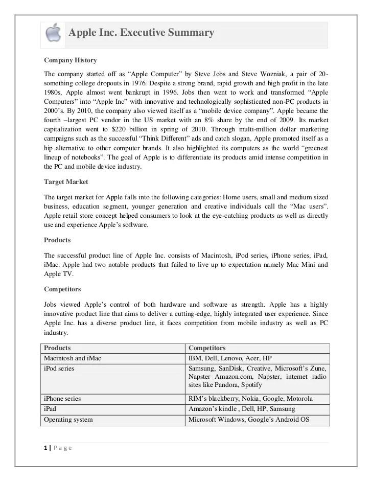 Apple Inc SWOT Analysis And Executive Summary