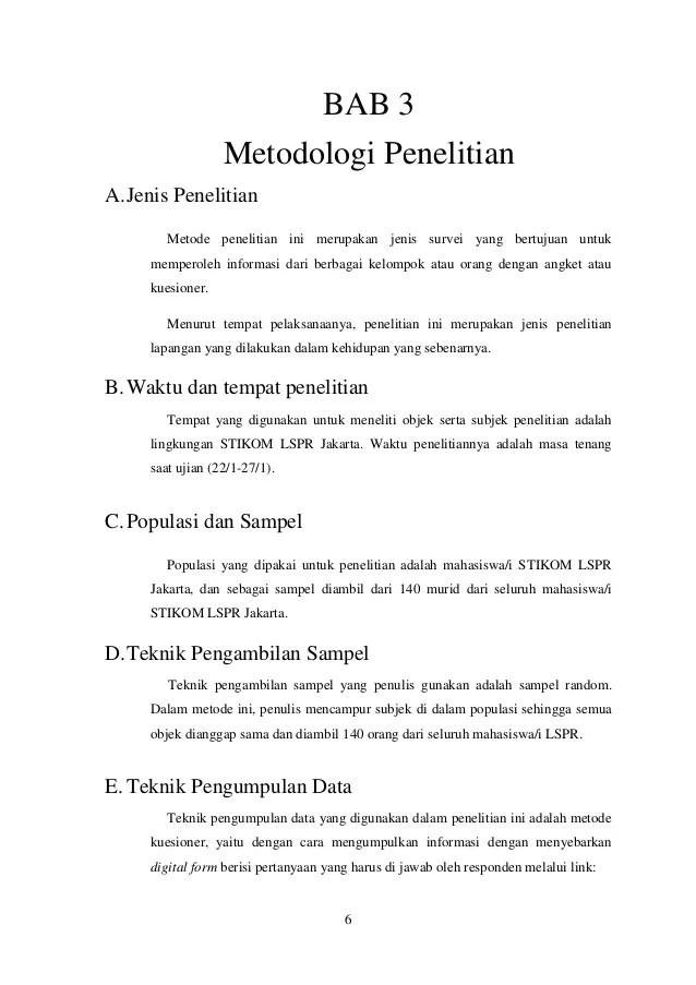 Contoh Skripsi Bab 3 Objek Penelitian Kumpulan Berbagai Skripsi Cute766