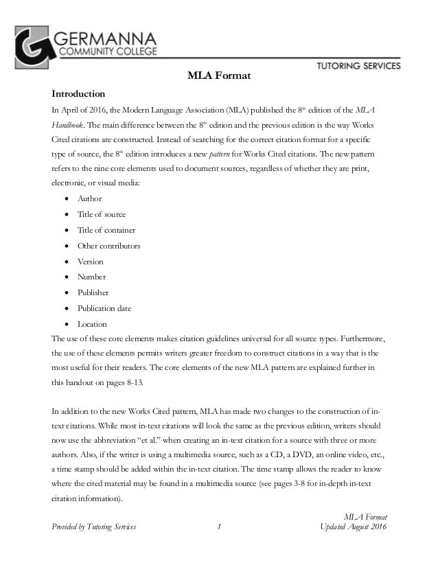 MLA 8th Edition Citation Format By Germanna Community College Tutorin