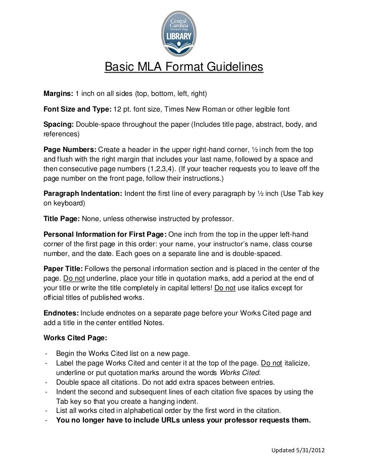 MLA Format Guidelines