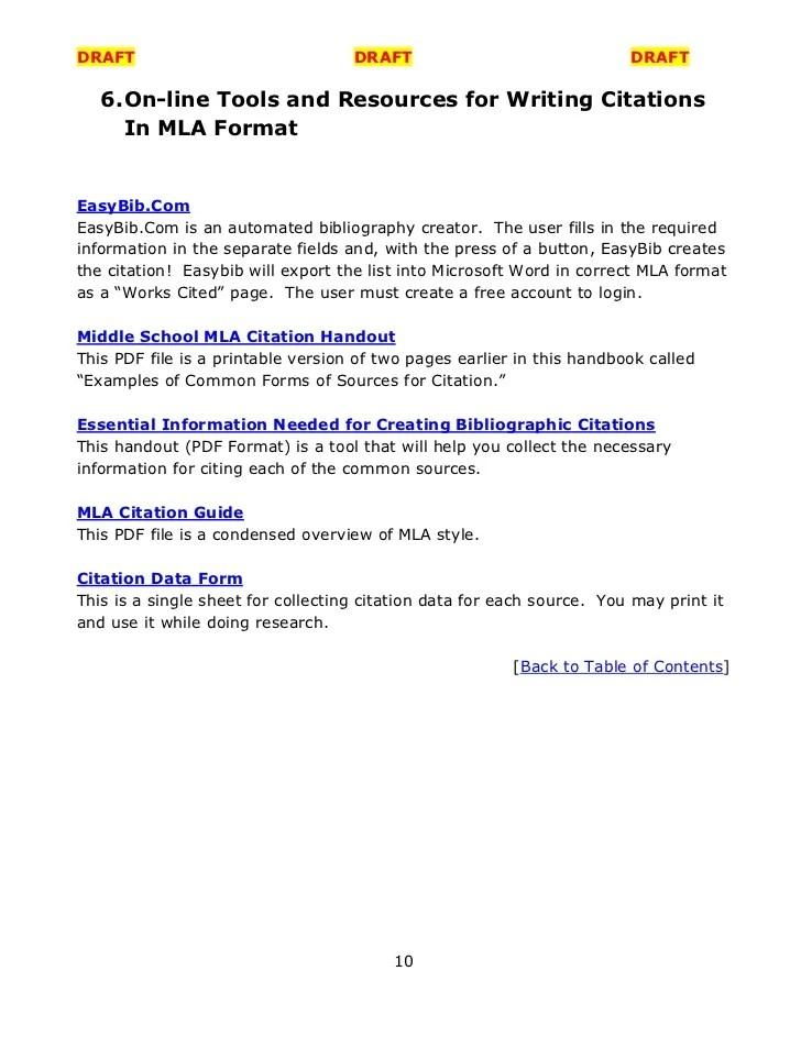 mla citation forms